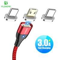 magnetladung großhandel-Magnetische Micro-USB-Kabel für Android Samsung Typ-C-Ladegerät 3A Schnelllademagnet Ladegerät Adapter USB Typ C Handykabel