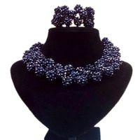 conjunto de joyas hechas a mano africanas al por mayor-4UJewelry Conjuntos de Joyas Negras Bolas Hechas A Mano Conjunto de Collar de Mujeres Africanas Conjunto de Joyas de Cristal Nupcial Envío Gratis Juego de Joyas