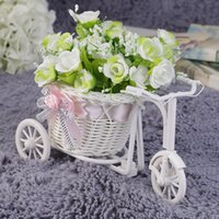 Wholesale flower basket tricycle for sale - Group buy Rattan tricycle weave flower basket fruit cosmetic organizer Garden home desk office Wedding Party Decoration gift
