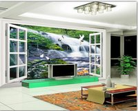 Wholesale windows live tv online - modern wallpaper for living room D three dimensional window water waterfall scenery TV background wall decoration painting