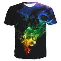 kafatası tişört kadınları toptan satış-Erkek Modası T Shirt 19ss Erkekler Yeni Tasarımcı T Gömlek Aşıklar Kafatası 3D Kısa kollu Tops Tees Giyim Boyut S-3XL Womens Tee Tops
