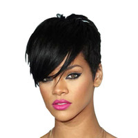 Wholesale rihanna chinese hair resale online - Rihanna Style New Stylish B color Black Short Straight Africa American wigs Synthetic Ladys Hair Wig Wigs Full Wig Capless