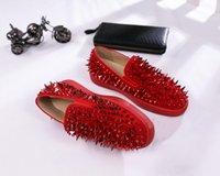 zapatos hombre rodillo al por mayor-Diseñador de zapatos Roller-Boat hombres holgazanes planos Rojo plataforma inferior del zapato informal Partido Spikes sandalia de las mujeres Spikers Formadores Negro azul de la boda R03