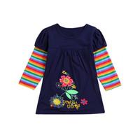 vestidos de noche de otoño para niños al por mayor-Baby Girl bordado manga larga vestido de princesa otoño invierno niños raya manga vestidos de noche niños ropa