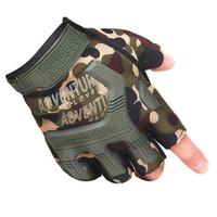 grüne halbe fingerhandschuhe großhandel-Half Finger Radhandschuhe Army Green Black taktische Handschuhe Outdoor-Sportarten Reiten Wandern atmungsaktiv taktische Handschuhe Hy # 283692