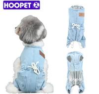 ingrosso giubbotti blu maglia-HOOPET Pet Denim Abbigliamento Primavera Autunno Piccolo Gatto e Cane Blue Jeans Vest Jacket Tute Vestiti Pug Chihuahua Pitbull Quattro gambe Vestiti per cani