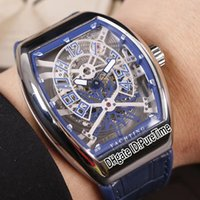 Wholesale cool mens watch leather resale online - New Saratoge Vanguard Yachting Gravity V45 Steel Case Blue Inner Skeleton Dial Automatic Mens Watch Blue Leather Rubber White Line Cool b2