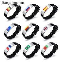 pulseras deportivas personalizadas al por mayor-Personalizado DIY LOGO Titanium Steel Sports Fanáticos del fútbol Pulseras Logo Fans Pulseras Joyas Brazaletes Pulseras de silicona para hombres