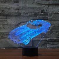 ingrosso cambia colore della lampada dell'automobile-Nuova illuminazione auto 3D Night Light Car Racing da tavolo di colore della lampada LED Cambiare Optical Illusion bambini della lampada cameretta Decor