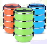 boîte à lunch chauffée achat en gros de-Boîtes à bento avec conservation de la chaleur pour étudiants circulaires à plusieurs étages Boîte à lunch en acier inoxydable Récipient pour conservation des aliments 9 9sx4 F1