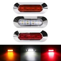 marcador ámbar led al por mayor-Universal 4 LED Car Truck Bus Remolque Marcador lateral Indicadores de separación Luz lateral Marcador Luz de estacionamiento Rojo Ámbar blanco