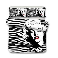 edredones marilyn monroe al por mayor-Juego de cama 3D Marilyn Monroe Funda nórdica Funda de almohada