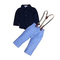 Wholesale baby jean sets for sale - Group buy Baby Sets Boys Suit Kids Strap Jeans Suit Button Lapel Shirt Bib Pants Long Sleeve Shirt