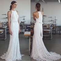 Wholesale classy white silver dress for sale - Group buy Beach Full Lace Mermaid Wedding Dresses with Keyhole Neck Sweep Train Fully Classy Sash Beaded Bow Beach Bridal Gowns