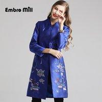 casaco chinês mulher venda por atacado-Outono O novo longa seção casaco estilo chinês Retro Satin Standing bordados colar cintura solta de mulheres elegantes coat M-2XL
