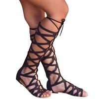 diz boyu yüksek dantel sandaletleri toptan satış-YOUYEDIAN Lace Up Sandalet Diz Yüksek Yaz Kadınlar Bayanlar Moda Ayakkabı Hollow Casual Flats Roma Ayakkabı Sandalet zapatillas mujer