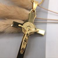 collares de las mujeres al por mayor-Joyería al por mayor Jesús cruzó el collar del oro del acero inoxidable 18K para el envío libre 2019 del regalo de las mujeres