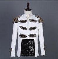 männer weißer diamant-anzug großhandel-White Diamond Blazer Herren Anzüge Designs Jacke Herren Bühnensänger Kleidung Stehkragen Star Style Kleid Punkrock Masculino Homme