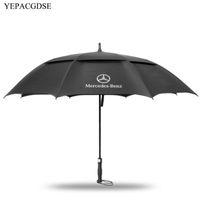 şemsiye erkekler siyah toptan satış-Yüksek Kalite Moda Siyah erkek Uzun Saplı Şemsiye Mercedes Logo Takviyeli Rüzgar Geçirmez Şemsiye Iş Şemsiye T8190619