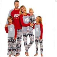 ingrosso equipaggiamento di abbigliamento per famiglia-Set pigiami natalizi per la famiglia Set abbinabile alla famiglia Madre Padre Abbigliamento per bambini Orso Costumi stampati Abbigliamento da notte per bambini