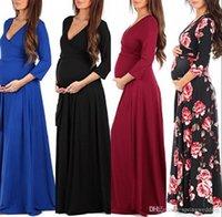 vücut bakıcısı akşam önlükleri toptan satış-Güzel Yeni Ucuz Hamile Uzun Kollu Abiye Kadınlar Uzun Annelik Elbise Kıyafeti Yaz Sahne Maxi Gündelik Elbise Kokteyl MC0685