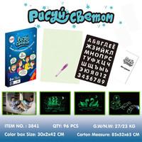 tablas de doodle al por mayor-1PC A5 LED luminoso tablero de dibujo Graffiti dibujo del Doodle de la tableta mágica dibujar con luz fluorescente diversión juguete educativo de la pluma