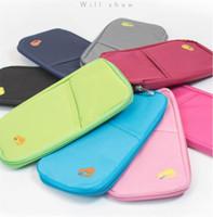 Wholesale passport travel bag wallet pouch resale online - Solid Color Passport Holder Ticket Wallet Handbag ID Credit Card Storage Bag Travel passport Wallet Holder Organizer Purse Bag pouch A22804