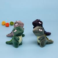 Wholesale rex dinosaur toy resale online - Dinosaur Keyring Cartoon Green Tyrannosaurus Rex Stuffed Animals Lovely Originality Plush Toys Girl Gifts Car Bag Pendant js N1
