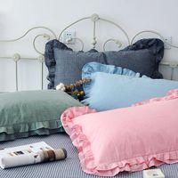 Wholesale blue ruffle bedding resale online - 2Pcs Cotton Ruffle Pillowcase Solid Colour Ruffle Pillow Cover European Pillow Cover Protector Bedding Accessory cm Case