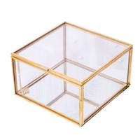 ingrosso contenitori di stoccaggio d'oro-Nordic Gold Storage Box Geometry Micro Landscape Fioriera in vetro Semplice e moderno contenitore di gioielli creativo