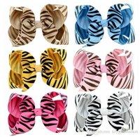 ingrosso tessuto colorato caramelle-Bambini Accessori BB clip caramelle di colore tessuto tornante zebra a strisce Accessori Nastro per capelli diadema Trasporto libero all'ingrosso