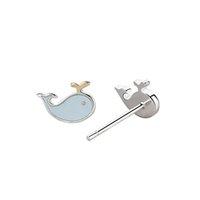 ingrosso vite prigioniera del delfino-New Cute Dolphin 100% autentico 925 orecchini in argento sterling gioielli 5 coppie un sacco