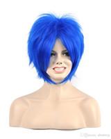 kanekalon peruk patlamaları toptan satış-Kadınlar Erkek Unisex Katmanlı Bangs Kısa Düz Mavi Sentetik Saç Kanekalon Isıya Dayanıklı Cosplay Parti Saç Tam Peruk