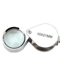 reparatur lupe großhandel-Silber 10X21 Mm Lupe Glas Juweliere Auge Faltbare Schmuck Schleife Lupe Uhr Repair Tool
