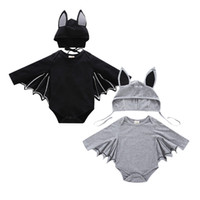 ingrosso bambino di batman-Toddler boy cosplay batman pagliaccetto Tuta bambino in cotone manica lunga con cappello 2pcs bambini costumi di Halloween Set di abbigliamento per bambini appena nati