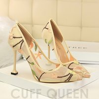 Wholesale flower man sexy resale online - Goddess2019 Women s York New Embroidered High heeled Shoes Reticular Hollow Out Sexy Lace Flower Spiraea Single Shoe