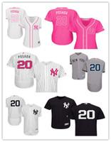 yankees jerseys majestuosos al por mayor-2019 Custom Nueva York hombres de las mujeres jóvenes Yankees Jorge Posada 20 Majestic Negro alternativo auténtico Flex camisetas de béisbol