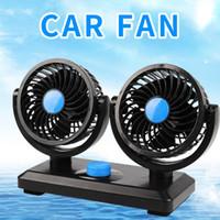 12v luftventilator großhandel-Mitchell 12 V Mini Elektrische Auto Fan Geräuscharm Sommer Auto Klimaanlage 360 Grad 2 Gänge Einstellbare Luftkühlgebläse