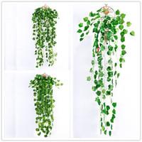 ingrosso wedding green garland-Verde artificiale finto Hanging Vine Plant Leaves Fogliame Fiore Ghirlanda Home Garden Wall Hanging palle cestini Decorazione IVY Vine wedding