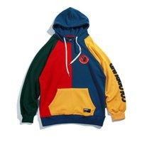 eski hip hop hoodie toptan satış-Kapüşonlular Erkekler Vintage Renkli Blok Harajuku Streetwear Hip Hop Sonbahar Erkek Moda Günlük Hoodie Tişörtü Patchwork Kalite Drop Shipping