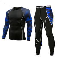 синие комплекты белья оптовых-Aismz Men Thermal Underwear Sets Blue Printing Compression Fleece Sweat Quick Drying Thermo Underwear Men Clothing Long Johns