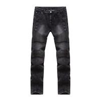 erkekler için moda ayakkabı kot toptan satış-Erkek Moda Biker Jeans Ripped Erkekler Sıkıntılı Moto Yıkanmış Pileli Jean Kaliteli Slim Fit Skinny Jeans Erkek Siyah