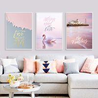 moderne romantische gemälde großhandel-Nordic Flamingos Moderne Wohnkultur Minimalist Romantische Rosa Meer brief Landschaftsbilder Ungerahmt Wandkunst Leinwanddrucke