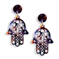 Wholesale fatima hand earring online - Vintage Hollow Hamsa Hand Fatima Palm Earrings Boho Acrylic Acetate Plate Dangle Earrings Bohemian Jewelry for Women Party Gift