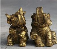 Wholesale china animal figurines for sale - Group buy NEW Folk China Fengshui Brass Elephant Mealie Animal Auspicious Statue Figurine Pair