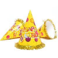 Wholesale baby shower cake decorations boy resale online - 5PCS Birthday Party Decoration Hats Baby Shower Birthday Cake Caps Boy Girls Party Photo Props Children Adult Ribbon C Caps
