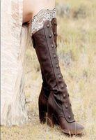 sexy longs schnürstiefel groihandel-Sexy Lace-Up Frauen Cowboy-Stiefel hoch Platz Heel Gothic Stiefel hoch runder Zehe Knöchel-Winter-Schuhe