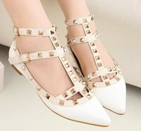 Wholesale women foot sexy resale online - Alluring2019 Patent Sexy Leather Cool Rivet Decoration Foot Ring Bandage Shallow Mouth Flat Bottom Single Shoe