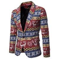 chaqueta de navidad para hombre al por mayor-Invierno para hombre chaquetas y abrigos Slim Fit con muesca Impreso de navidad elegante adapta a la chaqueta de solapa Ropa Casual Hombres chaqueta florales