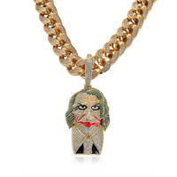 Wholesale cool jewelry brands for sale - Movies joker Pendant Necklace Cubic Zirconia K Gold Plated Cool Hip Hop Jewelry Men Luxury Brand Hip Hop Necklaces